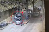 Video: టోల్గేట్ వద్ద  బీభత్సం..కారును వెనక నుంచి ఢీకొట్టిన మరో కారు