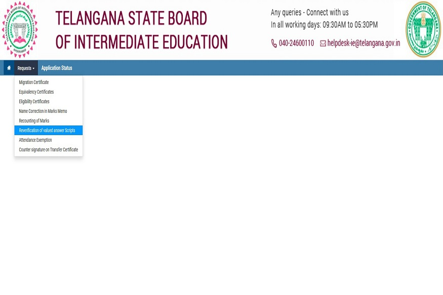 telangana,inter board,bie,reverification,revaluation,recounting,website,students,parents,