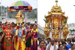 PICS: స్వర్ణరథంపై శ్రీనివాసుడు..వైభవంగా రథరంగ డోలోత్సవం